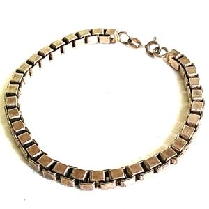 ITALY 5mm Sterling Silver Box Chain Bracelet VTG